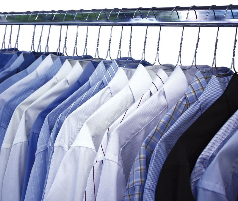 a Rack full of dress shirts