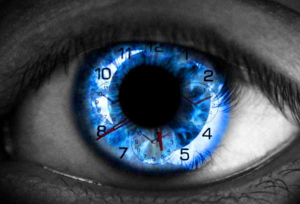 time concept - blue eye with clock faces