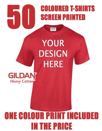 50 Coloured T-Shirts Screen Printed with Your Logo