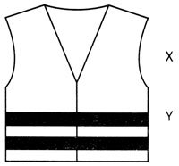 Image shows the markings on a hi-vis vest