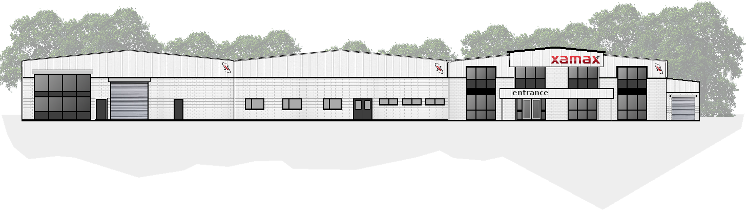 Drawing of Xamax Workplace Solutions Building