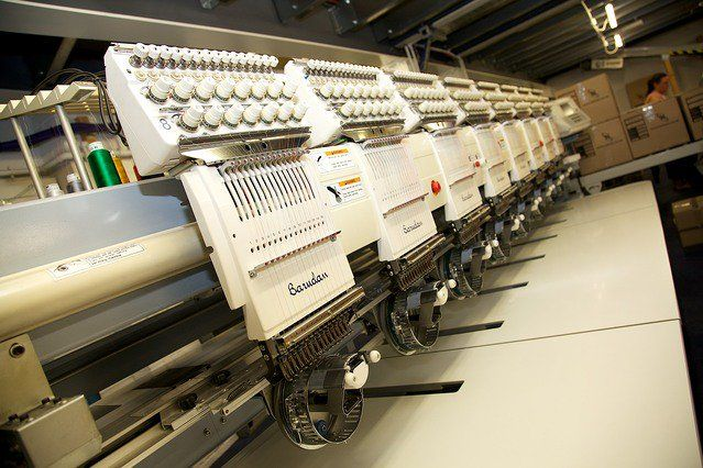 Image shows embroidery machine