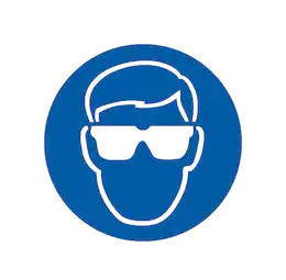 Image shows blue PPE sign with man wearing safety glasses