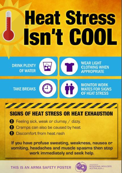 Image shows signs of heat stress and how to prevent road workers from becoming ill