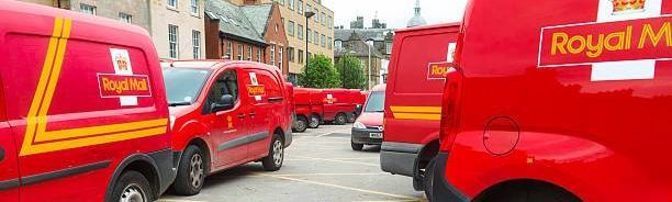 royal mail vans in a line
