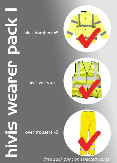 Hi-Vis wearer pack bundle which consists of: 5 x hi-vis bomber 5 x hi-vis vest 5 x over trousers