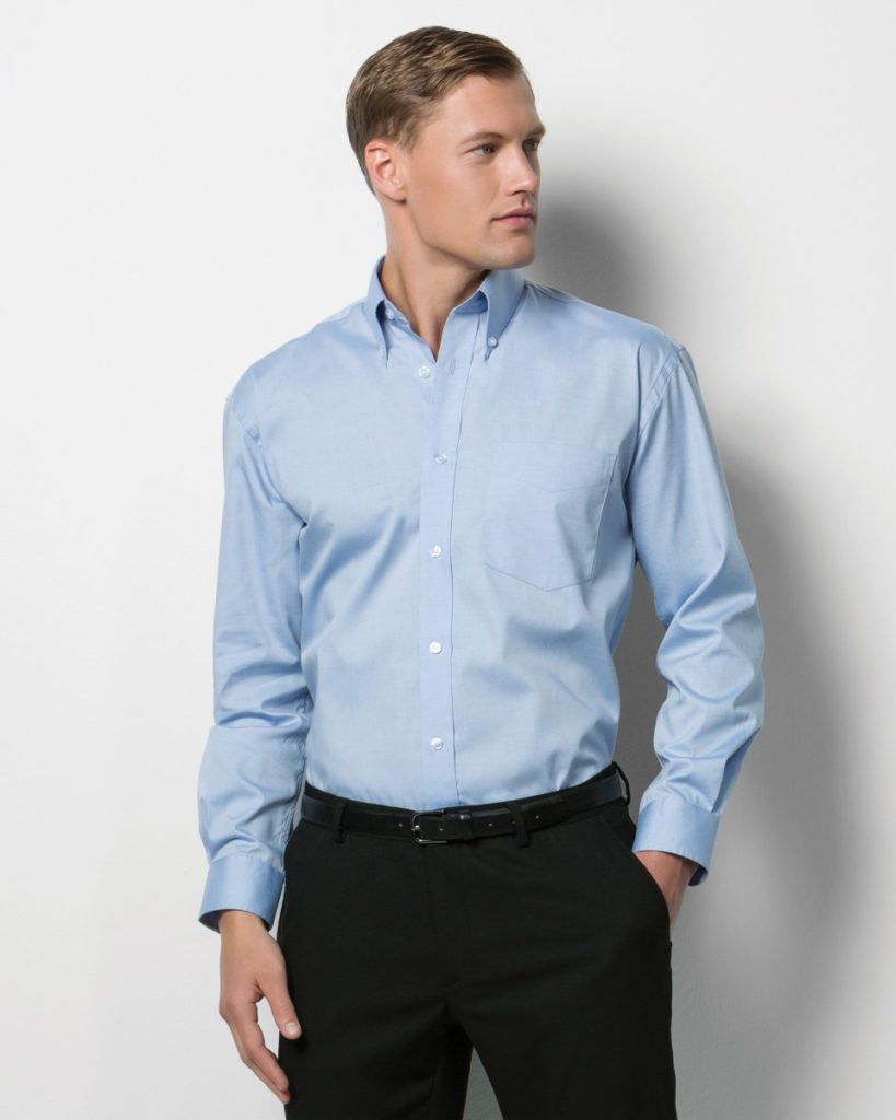Image shows Kustom Kit Men's Long Sleeve Corporate Oxford Shirt