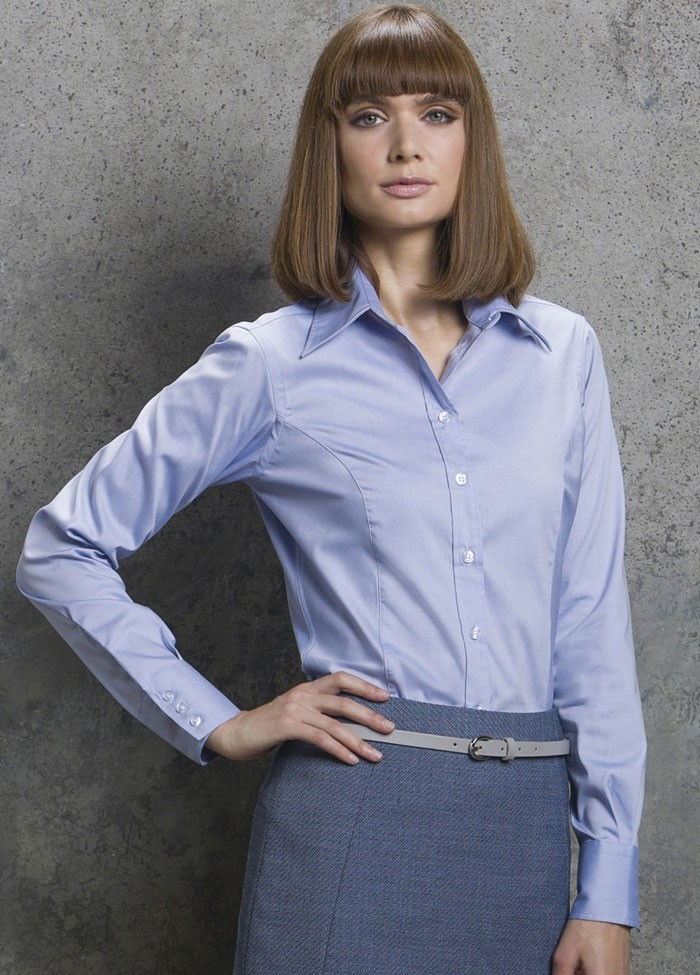 Image shows Kustom Kit Ladies' Corporate Long Sleeve Oxford Shirt