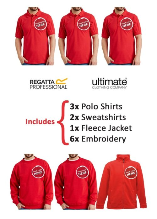 Image shows the Xamax workwear bundle which consists of: 3x polo shirts 2x sweatshirts 1x fleece jacket 6x embroidery