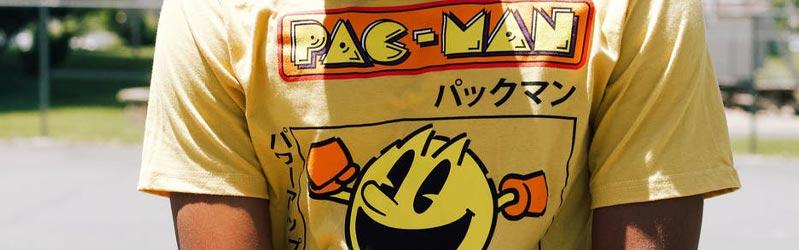 man wearing a Pac-Man printed t-shirt