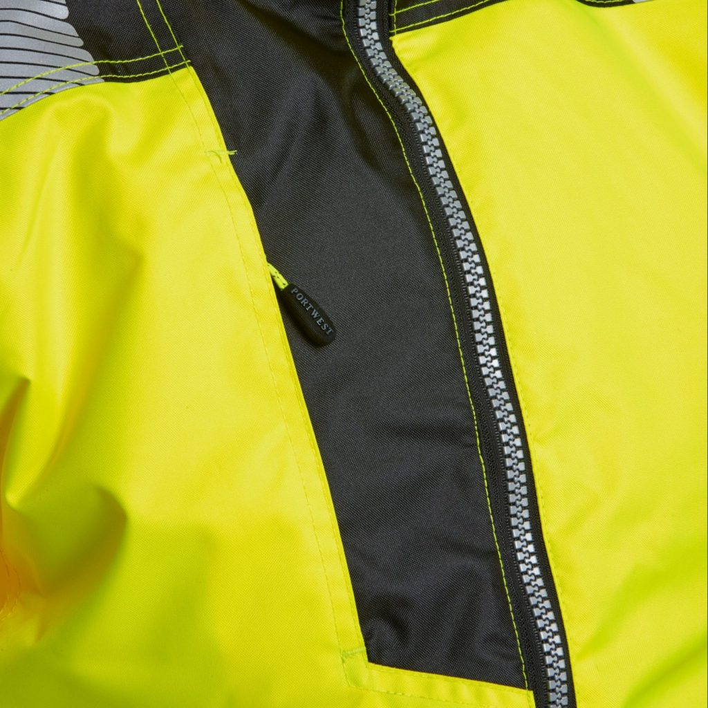 hi vis contrast material on pocket entry