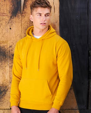 Man wearing orange hoodie
