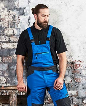Man wearing blue overalls